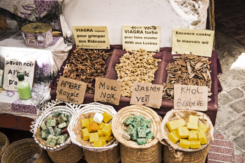 Traveling in Marocco in Africa / Essaouira: Market