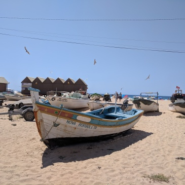 Armacao de Pera in Portugal (Algarve): fisher boats on the beach
