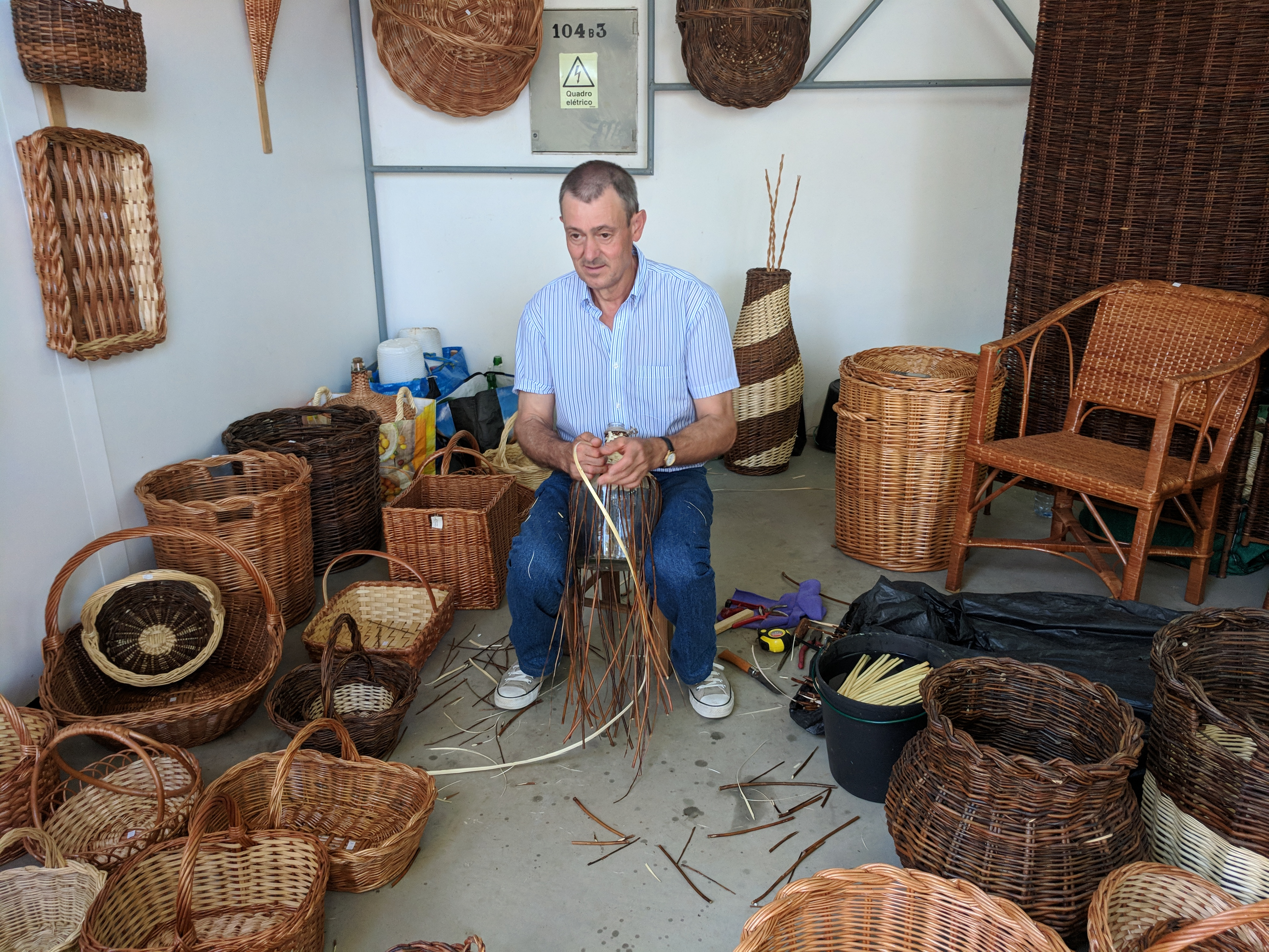 Portugal - Algarve / Fatacil (fair) in Lagoa: basket maker
