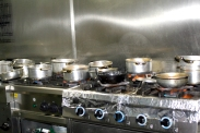 Pots boiling on the stoves